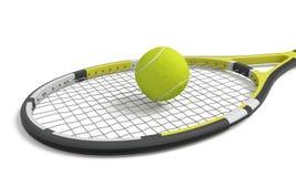 3d que rende uma única raquete de tênis que encontra-se com uma bola amarela sobre sua cabeça da malha foto de stock royalty free