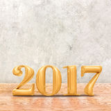 2017 3d que rendem a cor do ouro do ano novo na sagacidade da sala da perspectiva Fotografia de Stock Royalty Free