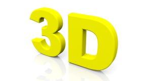 3D que rendem 3D amarelo exprimem isolado no fundo branco Imagens de Stock Royalty Free