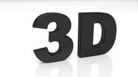 3D que rendem 3D preto exprimem isolado no fundo branco Imagens de Stock