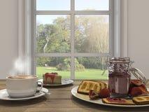 3d que rendem o grupo e o bolo agradáveis de café perto da janela com sol brilham Imagens de Stock Royalty Free