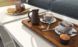 3d que rendem o grupo e a pastelaria agradáveis de café para o café da manhã na tabela com sol brilham Imagens de Stock