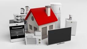 3d que rinde aparatos electrodomésticos y una pequeña casa ilustración del vector