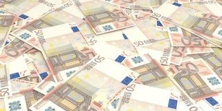 3d que rinde 50 billetes de banco de los euros Foto de archivo libre de regalías