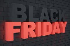 3D que rinde Black Friday, mensaje de la venta para la tienda Bandera de la tienda de la lupulización del negocio para Black Frid Fotografía de archivo