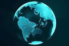 3d que rinde concepto digital del holograma de la tierra Imagen de la tecnología del color futurista azul del globo con los rayos stock de ilustración