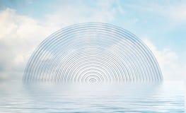 3D que rinde el arco de cristal reflejado en agua ilustración del vector