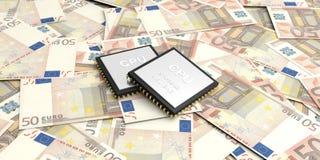 3d que rinde el circuito electrónico en 50 billetes de banco de los euros Imágenes de archivo libres de regalías