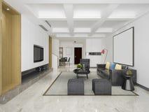 3d que rinde el comedor y la sala de estar modernos con la decoración de lujo foto de archivo libre de regalías