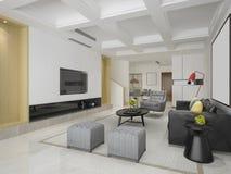 3d que rinde el comedor y la sala de estar modernos con la decoración de lujo fotografía de archivo libre de regalías