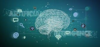 3d que rinde el concpt de la inteligencia artificial con un cerebro y un app foto de archivo libre de regalías