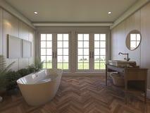 3d que rinde el cuarto de baño laminado del marrón con la visión agradable Fotografía de archivo