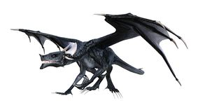 3D que rinde el dragón del cuento de hadas en blanco Fotos de archivo libres de regalías