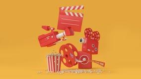 3d que rinde el fondo abstracto de la película del elemento del película-cine, cine, concepto del entretenimiento ilustración del vector