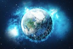 3D que rinde el fondo de la red global Líneas de la conexión con Dots Around Earth Globe Conectividad internacional global Imagen de archivo libre de regalías