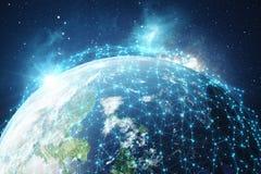 3D que rinde el fondo de la red global Líneas de la conexión con Dots Around Earth Globe Conectividad internacional global Fotografía de archivo libre de regalías