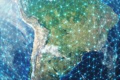 3D que rinde el fondo de la red global Líneas de la conexión con Dots Around Earth Globe Conectividad internacional global stock de ilustración