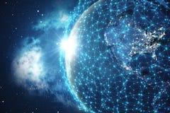 3D que rinde el fondo de la red global Líneas de la conexión con Dots Around Earth Globe Conectividad internacional global Imagenes de archivo
