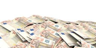 3d que rinde el fondo euro de 50 billetes de banco Imágenes de archivo libres de regalías