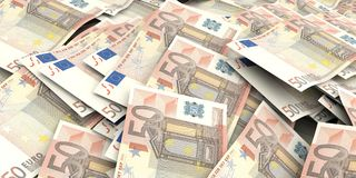 3d que rinde el fondo euro de 50 billetes de banco Imagen de archivo
