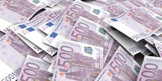 3d que rinde el fondo euro de 500 billetes de banco Fotos de archivo libres de regalías