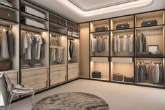 3d que rinde el paseo de madera de lujo del desván mínimo en armario con el guardarropa Imagen de archivo libre de regalías