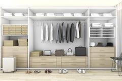3d que rinde el paseo de madera mínimo en armario con el guardarropa imagen de archivo libre de regalías