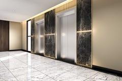 3d que rinde el pasillo de acero moderno de la elevación del elevador en hotel del negocio con diseño de lujo stock de ilustración