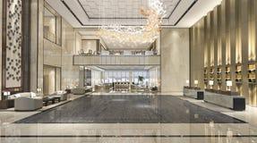 3d que rinde el pasillo de la recepción del hotel de lujo y el restaurante del salón fotos de archivo libres de regalías
