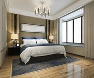 3d que rinde el suite de lujo hermoso en hotel con la TV foto de archivo
