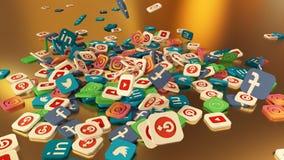 3d que rinde iconos sociales del establecimiento de una red Fotos de archivo libres de regalías
