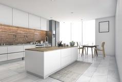 3d que rinde la barra contemporánea de la cocina en comedor Imagen de archivo