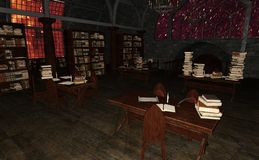 3D que rinde la biblioteca vieja libre illustration