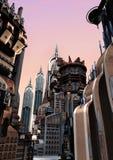 3D que rinde la ciudad futurista Fotos de archivo libres de regalías