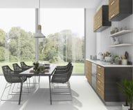 3d que rinde la mesa de comedor agradable cerca de la barra de madera de la cocina cerca de la opinión del jardín Imagen de archivo libre de regalías