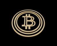 3D que rinde la moneda de oro con la muestra del bitcoin Libre Illustration