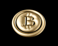 3D que rinde la moneda de oro con la muestra del bitcoin Imágenes de archivo libres de regalías