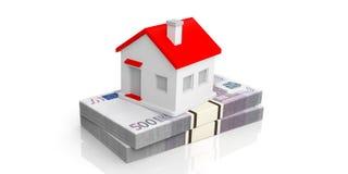 3d que rinde la pequeña casa en una pila de billetes de banco euro Fotos de archivo libres de regalías
