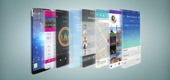 3d que rinde la plantilla del app en un smartphone ilustración del vector