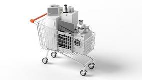 3d que rinde los aparatos electrodomésticos en una carretilla libre illustration