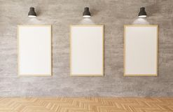 3d que rinde los carteles blancos y los marcos que cuelgan en el fondo del muro de cemento en el cuarto, luces, piso de madera ilustración del vector
