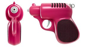 3d que rinde un sistema del mini arma de agua rosado retro, del frente y de la vista lateral, aislados en el fondo blanco imágenes de archivo libres de regalías