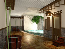 3D que torna a banheiro com chuveiro pública do estilo japonês interior Fotos de Stock Royalty Free