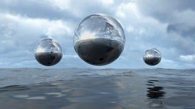 3D que torna a esfera transparente líquida abstrata à superfície da àgua ilustração royalty free