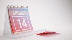 3D que torna o calendário na moda das cores no fundo branco - august Imagem de Stock Royalty Free