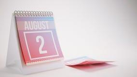 3D que torna o calendário na moda das cores no fundo branco - august Foto de Stock Royalty Free