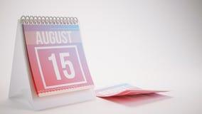 3D que torna o calendário na moda das cores no fundo branco - august Imagem de Stock