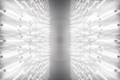 3D que torna a sala abstrata interior com luzes de néon Fundo futurista da arquitetura Modelo para seu projeto Fotografia de Stock