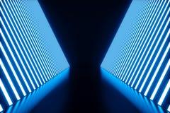 3D que torna a sala azul abstrata interior com as lâmpadas de néon azuis Fundo futurista da arquitetura Modelo para o seu Imagem de Stock Royalty Free