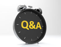 3D Question Answer. Alarm clock isolated on white background Royalty Free Stock Photography